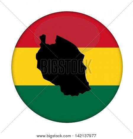Tanzania map on a Rastafarian flag button, white background.