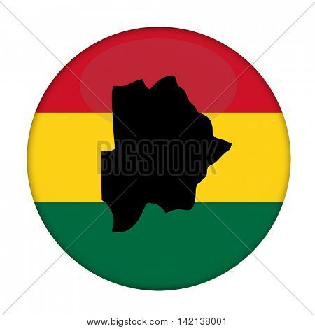 Botswana map on a Rastafarian flag button, white background.