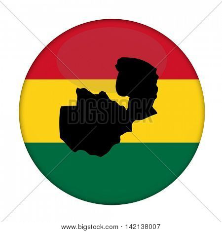 Zambia map on a Rastafarian flag button, white background.