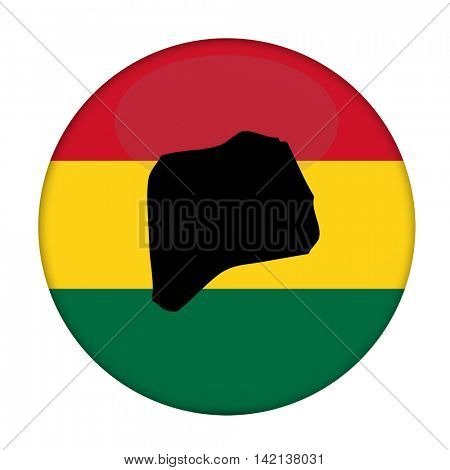 Rwanda map on a Rastafarian flag button, white background.