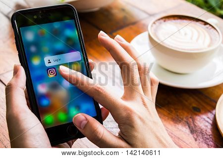 CHIANG MAI, THAILAND - JUN 17,2016: A women holds Apple iPhone 6S with Instagram application 3D Touch on the screen. Instagram is a photo-sharing app for smartphones.