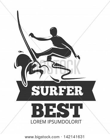 Surfing logo with surfer over the board. Symbol extreme in sea water, vector illustration