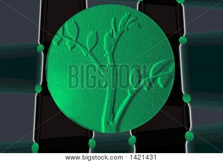 Logo .Green Tree As High Relief