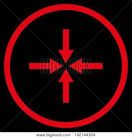 Impact Arrows vector icon. Style is flat rounded iconic symbol, impact arrows icon is drawn with red color on a black background.
