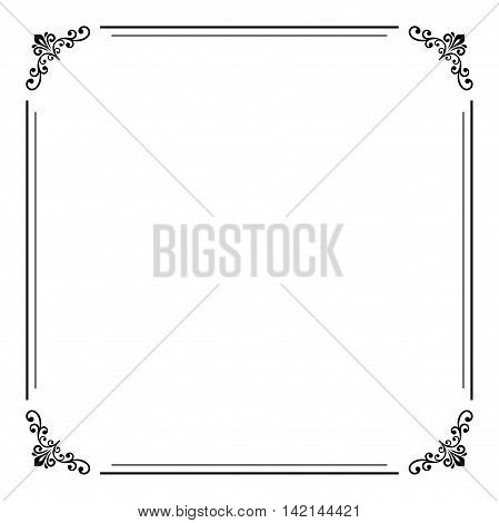 Classic vector square frame with arabesques and orient elements. Abstract fine ornament with place for text. Black and white colors