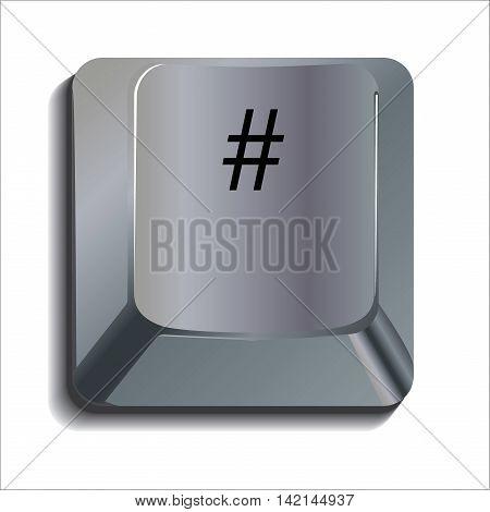 Hash Tag Shiny Computer Key Button Concept
