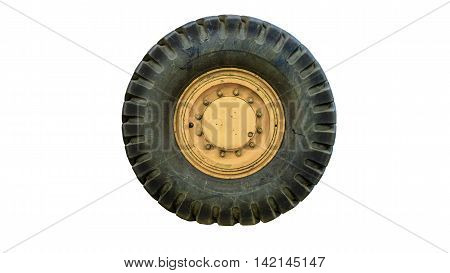 The tractor tire on white background ใ