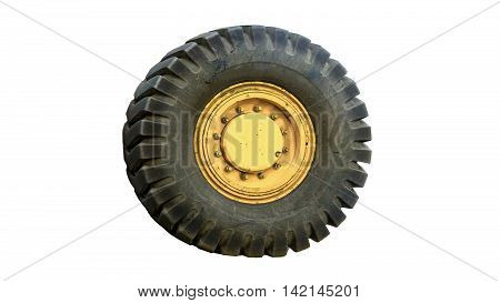 the tractor tires on white background isolated .