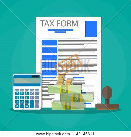 Time for pay taxes concept. Wooden stamp, tax form document, calculator, cash money and coins. Vector illustration in flat design on green background