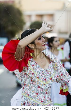 QUARTU S.E., ITALY - July 15, 2016: 30 ^ Sciampitta - International festival of folklore - Grupo de danzas albricias of San Martin de los Andes (Argentina) -Sardegna
