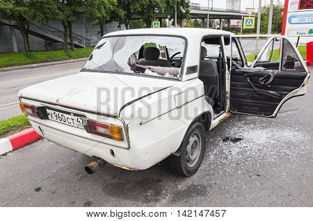 Crushed White Vaz-2106 Car