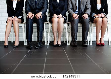 Stressful people waiting for a job interview