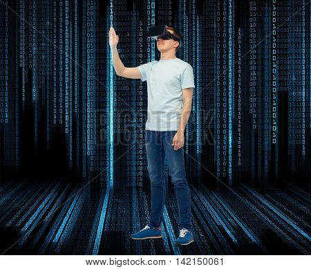 3d technology, virtual reality, entertainment, cyberspace and people concept - man with virtual reality headset or 3d glasses playing game and touching something over black background with binary code