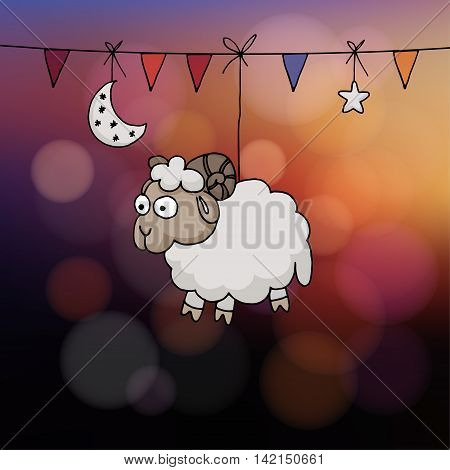 Eid al Adha card. Hand drawn sheep with party flags the moon and star. Vector illustration for the Muslim holiday of sacrifice. Modern blurred sunset background with bokeh lights.
