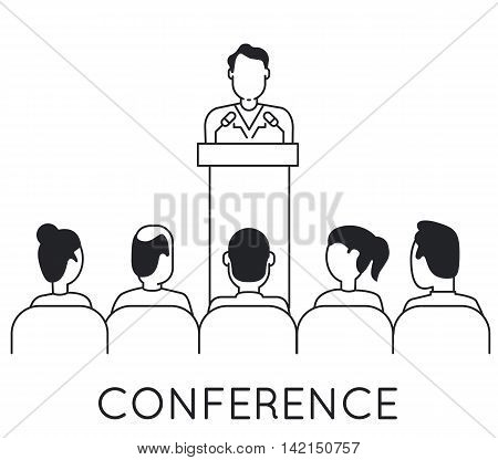 Linear Concept of Speaker at Business Conference and Presentation. Audience and Participants