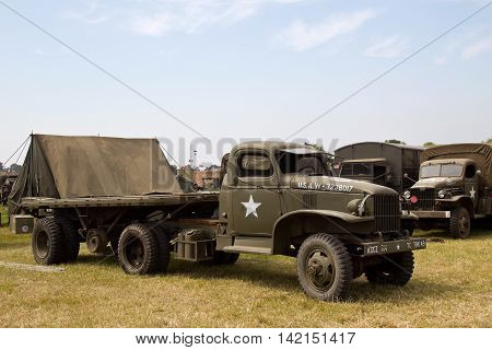 WESTERNHANGER, UK - JULY 20: A vintage US army WW2 Jimmy flatbed lorry is put on public display in the living history section at the War & Peace Revival show on July 20, 2016 in Westernhanger