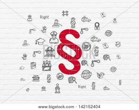Law concept: Painted red Paragraph icon on White Brick wall background with  Hand Drawn Law Icons