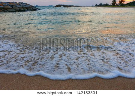 Wave sea on the beach in evening time,PMY beach thailand