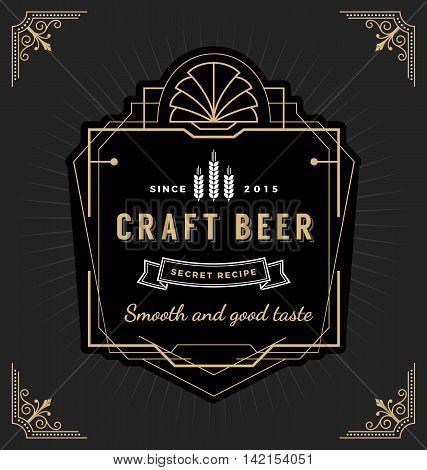 Vintage frame label design. Suitable for Whiskey and Wine label Restaurant banner Beer label. Vector illustration