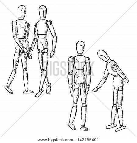 Wooden mannequin art figurines. Dummy model toys for drawing. Posing manikins on different poses in pairs.