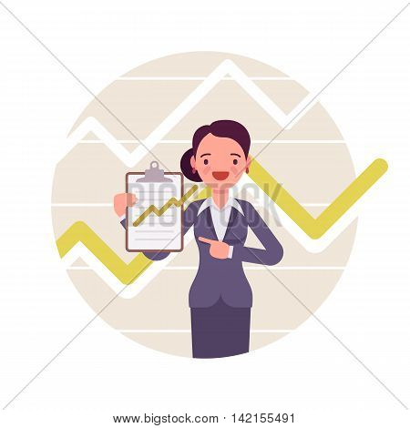 Businesswoman with clipboard. Positive green charts and graphs. Cartoon vector flat-style business concept illustration