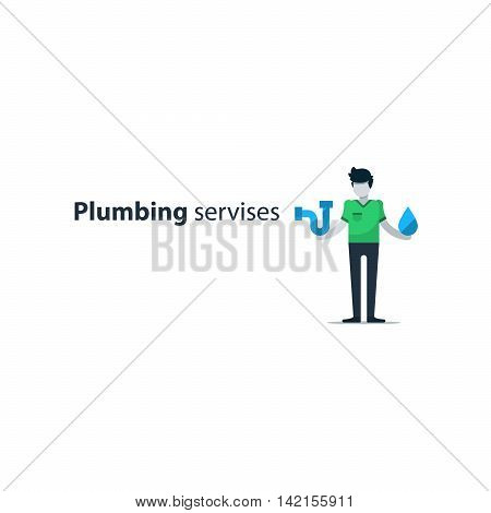 Plumbing services concept, plumber isolated, water works. Flat design illustration
