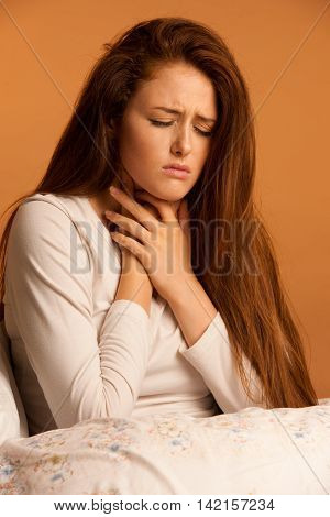 Illness Flu Sore Throat Woman Resting In Bed