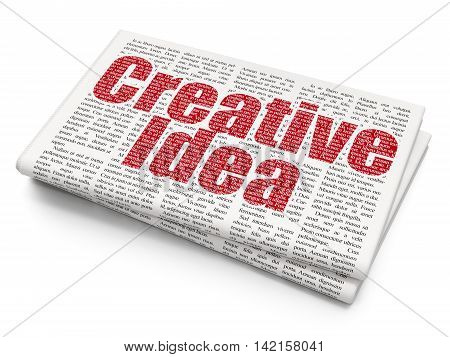Business concept: Pixelated red text Creative Idea on Newspaper background, 3D rendering