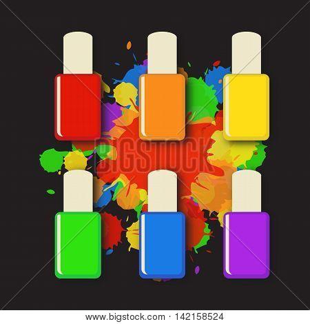 Nail polish bottles in different rainbow colors with splashes. Nail polish bottle, rainbow color. Nail polish splash.