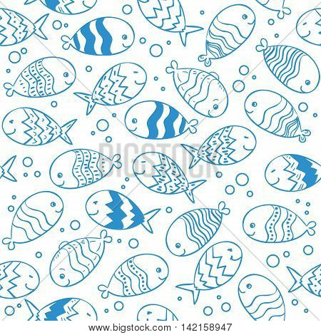 Fish doodle seamless pattern. Underwater tropical fish background.