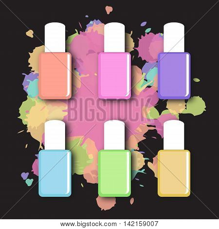 Vector set of nail polish in trendy pastel soft colors. Nail polish bottle set. Nail polish splash.