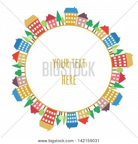 Illustration of colored houses on circle. Drawing of village or city. Color round pattern of a town. Seamless circle design element.