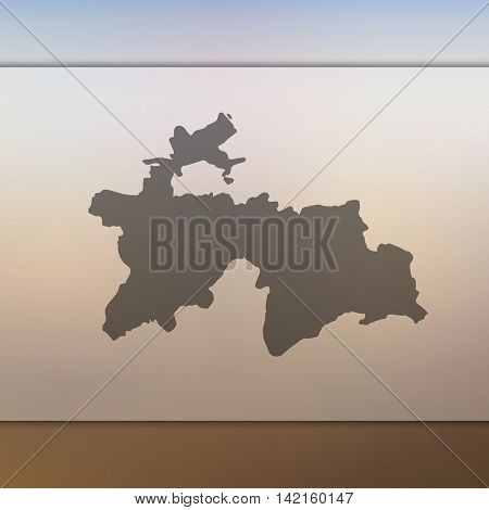 Tajikistan map on blurred background. Blurred background with silhouette of Tajikistan. Tajikistan. Blurred background. Tajikistan silhouette. Tajikistan vector map. Tajikistan flag. Travel.
