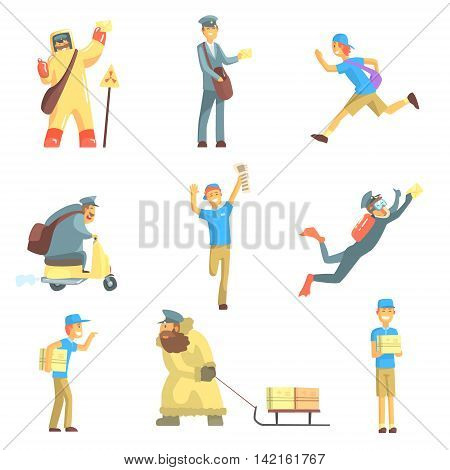 Messengers And Courier Men At Work Set Of Graphic Design Cool Geometric Style Isolated Drawings On White Background