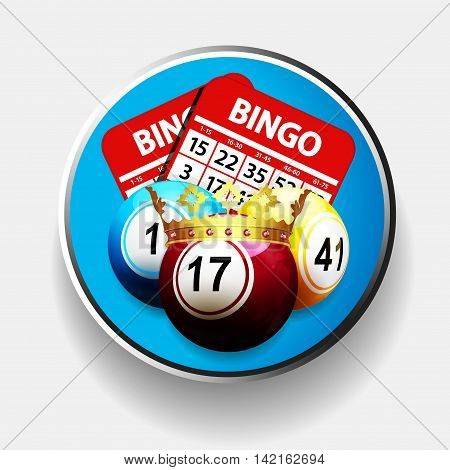 Bingo Balls with Cards and Crown Over Blue in Metallic Border