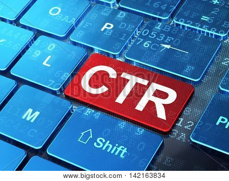 Business concept: computer keyboard with word CTR on enter button background, 3D rendering