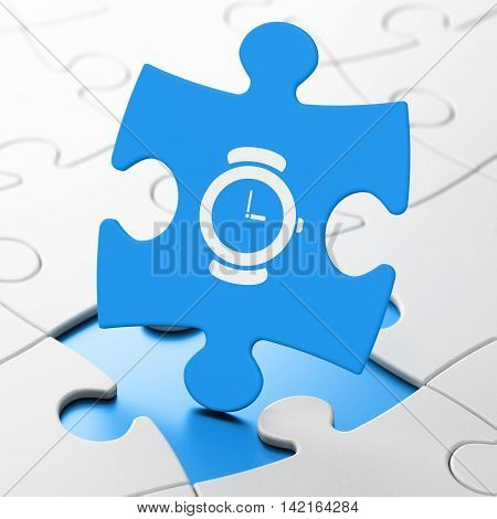 Time concept: Watch on Blue puzzle pieces background, 3D rendering