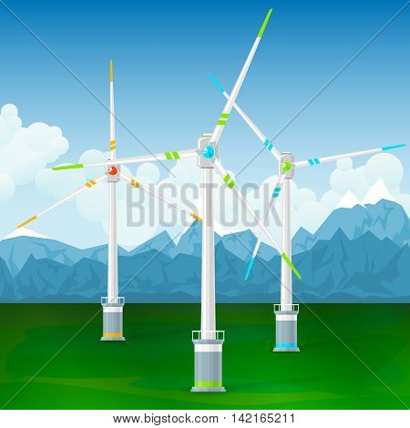 Wind Turbines on the Ground Horizontal Axis Wind Turbines on a Background of Mountains, Modern Low-Wind Turbine, Vector Illustration