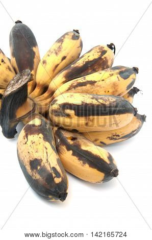 Bruised ripe of banana on white background