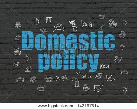 Politics concept: Painted blue text Domestic Policy on Black Brick wall background with  Hand Drawn Politics Icons