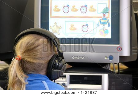 Child Using Learning Software