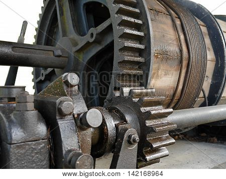 Old winch in cast mine - mining equipment