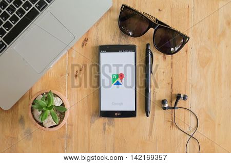 CHIANG MAI THAILAND - MAY 14 2016: G G4 with Google Maps application o. Google Maps is a service that provides information about geographical regions and sites around the world.