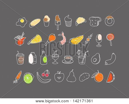 Different food hand-drawn silluettes. Vector coolection