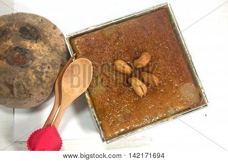 Thai coconut custard squares Khanom Maw Kaeng Thai tradition dessert