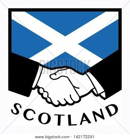 Scotland flag and business handshake, vector illustration
