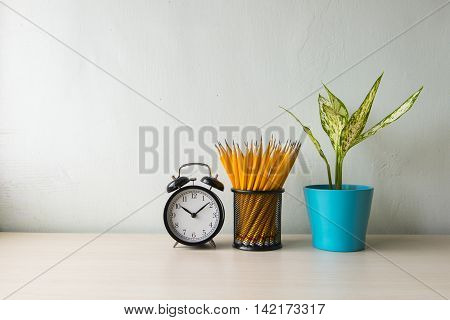 Indoor plant and clock on wooden table and white wall
