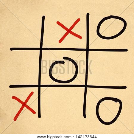 illustration tic tac toe XO game on paper