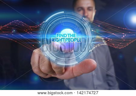 Business, Technology, Internet And Network Concept. Young Business Man Chooses The Virtual Screen: F