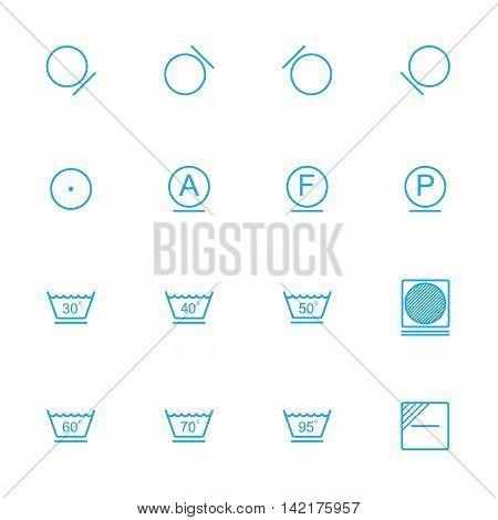 Laundry line blue icons washing instruction blue icons